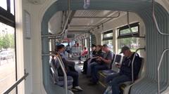 Tver-built articulated Vityaz tram interior. Running car horisontal body flatter Stock Footage