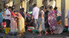 Busy fish market in Sassoon dock,Mumbai,India Stock Footage