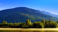 4K Mountain Valley Panorama Landscape, Beautiful Lake and Forest and Peak Stock Footage