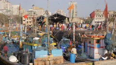 Sassoon dock with fish busy market,Mumbai,India Stock Footage