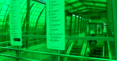 Station green glass, the movement of the escalator Stock Footage