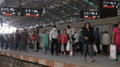 Busy platform on commuter station,Mumbai,India Stock Footage