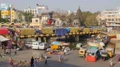 Bridge with shops over sacred river Godavari,Nashik,India Stock Footage
