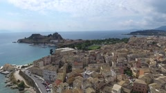 Aerial View of Corfu Greece Stock Footage