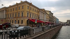 Griboyedov Canal and Quay in St. Petersburg Stock Footage