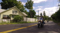 Many motorcycle ride to bridgeport from norvalk Stock Footage