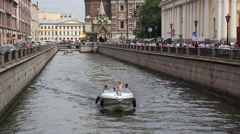 Griboyedov Canal and Church of Savior on Spilled Blood Stock Footage