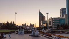 Astana, Kazakhstan - New Astana, colorful lights of buildings Stock Footage