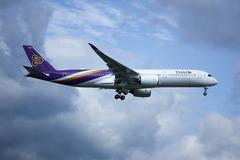 The newest aircraft's Thai Airways Airbus A350-900 XWB name WICHIAN BURI Stock Photos