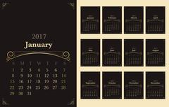 Vector of Calendar 2017 year with vintage ornament decoration gold color on d Stock Illustration