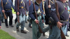 Civil War soldiers begin slowly marching Stock Footage