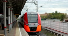He train is leaving from platform of the ZIL factory Stock Footage