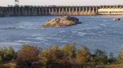 Zaporozhye hydroelectric power station on the Dnieper River. Ukraine Stock Footage