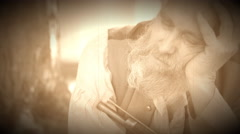 Civil War soldier sleeping with gun (Archive Footage Version) Stock Footage