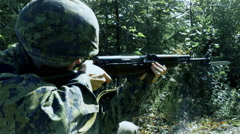 4K Smoke and Recoil from Military Rifle, Soldier Firing Large Gun with Bayonet Stock Footage