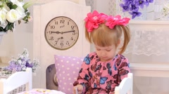 Cute Little Girl Is Naughty Stock Footage