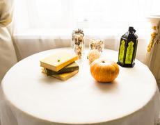 Pumpkin on the table, autumn and halloween concept Stock Photos