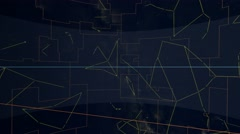 Equatorial constellations mapped to a sphere. Galaxy space imagery Stock Footage