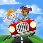 Characters Driving Car Stock Illustration