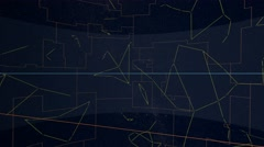 Equatorial constellations mapped to a sphere. Tycho Catalogue Stock Footage