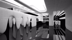 Abstract interior with white concrete sculpture and glossy black walls. Stock Footage