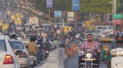 Street with busy traffic,Indore,India Stock Footage