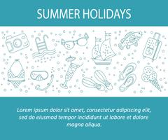 Vector card with summer holiday vector line icons. Stock Illustration