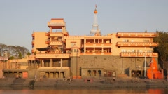 Buildings on Ram ghat at Shipra river,Ujjain,India Stock Footage
