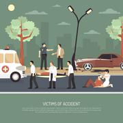 Traffic Accident First Aid Flat Poster Stock Illustration
