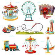 Amusement Park Attractions Flat Icons Set Stock Illustration
