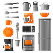 Appliances And Kitchen Utensil Icons Set Stock Illustration