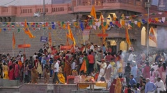 People throwing flowers with dancer on Holi festival,Ujjain,India Stock Footage