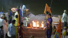 Hindu family get blessing from fire,Ujjain,India Stock Footage
