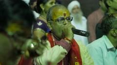 Hindu singer at festival,Ujjain,India Stock Footage