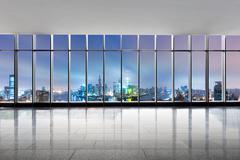 Cityscape and skyline of shanghai from glass window Kuvituskuvat