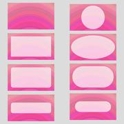 Pink digital art business card template design set Stock Illustration