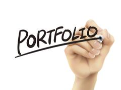 Portfolio written by hand Stock Illustration