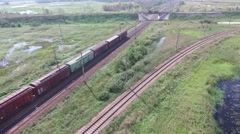 The moving-off train, aerial view. Stock Footage