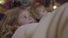 Cute Little Kids Snuggle Up By Fireplace And Listen To Christmas Stories Stock Footage