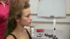 Hairdresser At Work. Hair Styling for Girl Fashion Model. Stock Footage