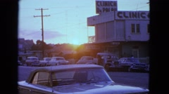 1963: sunset over street BARRINGTON, ILLINOIS Stock Footage