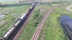 The leaving train editorial, aerial Stock Footage
