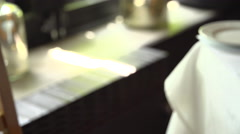Low angle right pan to a steak meal Stock Footage