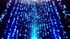 Looped Falling Glowing Dust Particles Motion Background Blue Cyan Cool Stock Footage