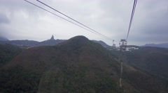 Ngong ping 360 cable car and big Buddha statue Stock Footage