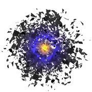 Sharp Particles Randomly Fly in the Air. Stock Illustration