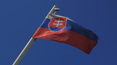 Slovak waving flag in a blue sky and clear Stock Footage