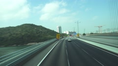 Road to airport of Hong Kong, view from bus Stock Footage