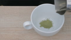 Making matcha tea in a cafe Stock Footage