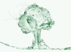 Naked Woman Under Water Tree Stock Illustration